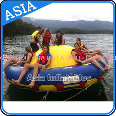 چین Sealed 3m Inflatable Floating Spin Water Disco Boat For 8 Person Blue / Yellow کارخانه
