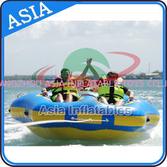 چین Sealed Towable 4 Person Inflatable Boats Yellow / Blue Rolling Donut Boat کارخانه
