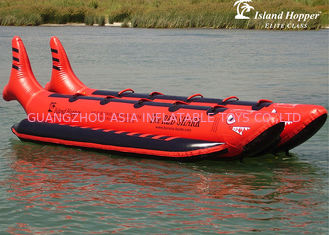 10 Passenger In-Line Red Shark Towable Inflatable Banana Boat For Sale Beach Toy