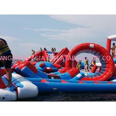 چین Red and Blue Inflatable Aqua Park , 0.9mm PVC Tarpaulin Inflatable Sports Park کارخانه