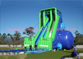 چین Green And Blue  Dry and Wet Slides , Inflatable Drop Kick Slide With Double Lanes For Resort And Event کارخانه