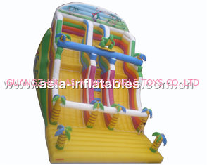 Inflatable Dual Lane Slide With Palm Tree For Sand Beach Games