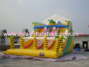 Inflatable Triple Lanes Slide With Palm Tree For Beach Games / Water Games