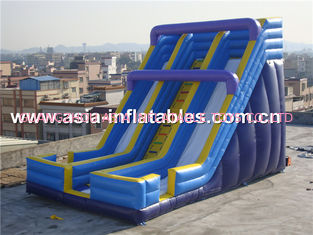 Beach Rental Inflatable Water Slide With Dual Lanes For Water Amusement