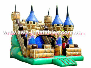 Hot Rental Inflatable Dry Slide With Bouncy Castle For Children Park Games
