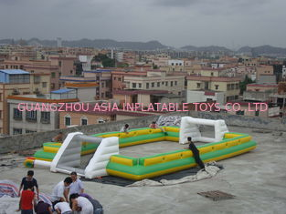 چین Newest And Hottest Inflatable Football Sport Field For Rental , Inflatable Soccer Field کارخانه
