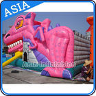 Lovely Inflatable Pink Snappy Dragon Bouncy Castle For Backyard Games تامین کننده