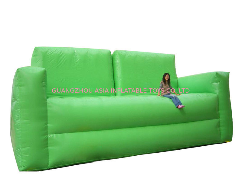 Soft Green Inflatable Chair Sofa For Homes Use , Portable Inflatable Sofa Chair تامین کننده