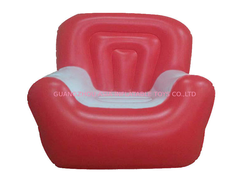 Red And White 0.6mm Pvc Tarpaulin Inflatable Air Sofa With Single Seat تامین کننده