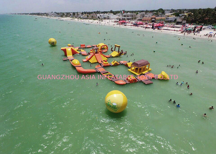 Mayan Beach Inflatabled Aqua Park / Floating Obstacle Course For Rental تامین کننده