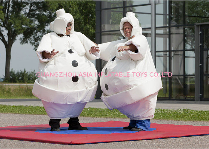 White Inflatable Cartoon Sumo Suits With Foam / Sumo Wrestler Costume