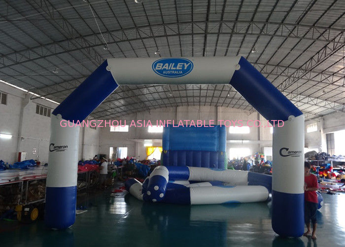Custom Welding White Blue Inflatable Entrance Arch With Logo Print For Promotion تامین کننده