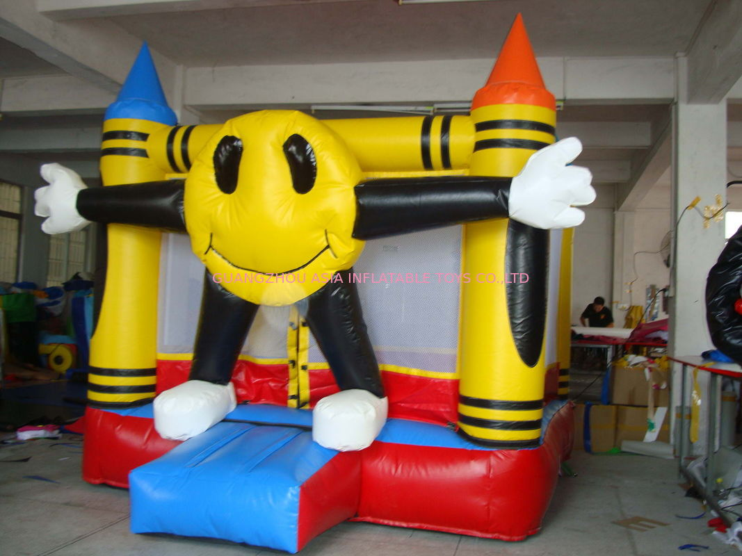 3m Yellow Inflatable Amusement Park With Smileface Mini Bouncer تامین کننده