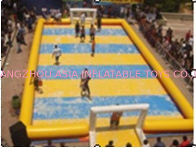 Customized Excellent Inflatable Water Soccer Field / Sports Inflatable Yellow Soccer Field تامین کننده