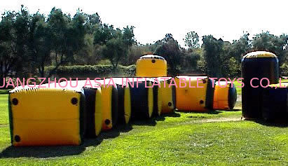Weave String Structure Inflatable Paint Bunker Trampoline Combo تامین کننده