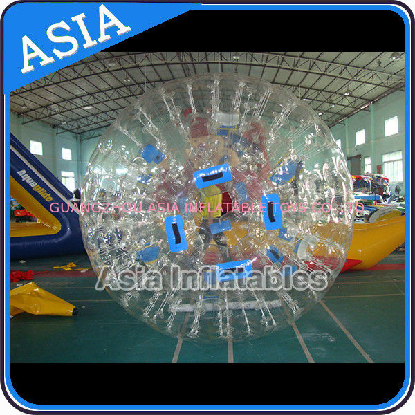 0.8mm Pvc Clear Inflatable Water Zorb Ball With Double Entrance For Adult تامین کننده