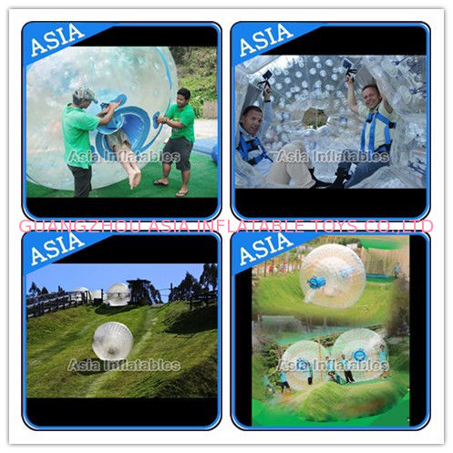 Customized Transprent Inflatable Zorbing Ball , Used Grass Zorb For Adult تامین کننده