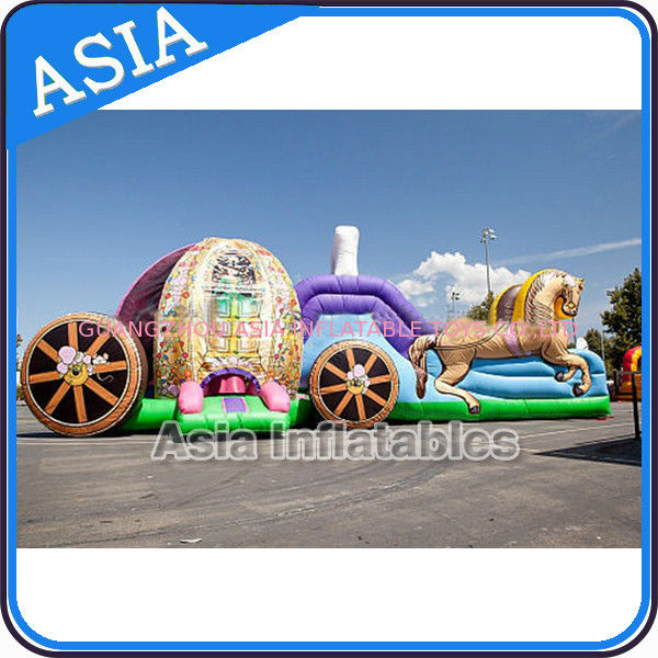 Outdoor Inflatable Horse Carriage Jumping Castle with Slide For Children تامین کننده